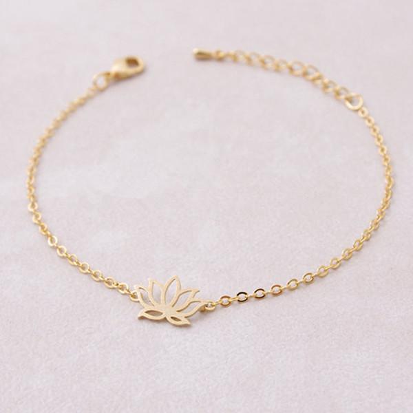 Mode Tibetischen Buddhismus Rose Gold Spirituelle Schmuck Yoga Lotus Armbänder Für Frauen Edelstahl Blume Blatt Geburtstagsgeschenk