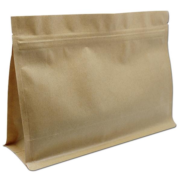 25pcs/lot Brown Kraft Paper Zip Lock Bag Packaging Side Gusset Stand Up Food Storage Zipper Resealable Horizontal Tea Gift Nuts