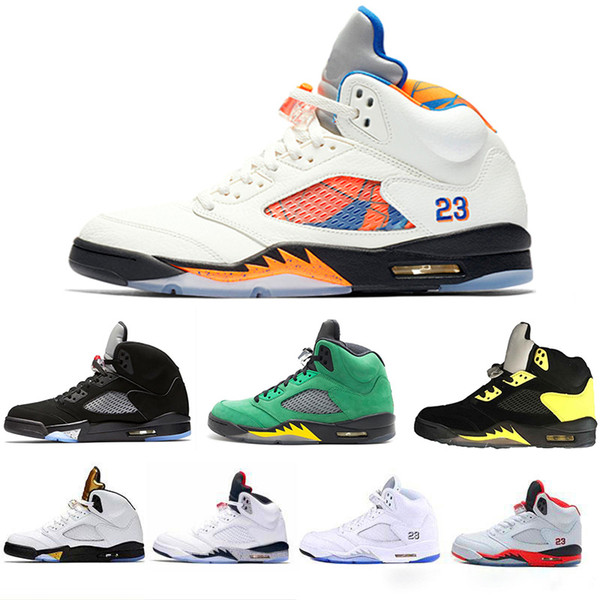 Wholesale new OG 5s Basketball Shoes for men NRG flight Black bred WINGS 3M red Suede Fire good men Sport Shoes drop shipping