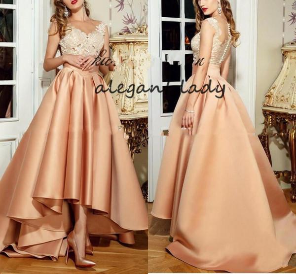 Elegant High Low Evening Dresses 2018 Peach New With Appliques Lace Long Sheer Back Robe De Soiree Prom gown vestido de festa