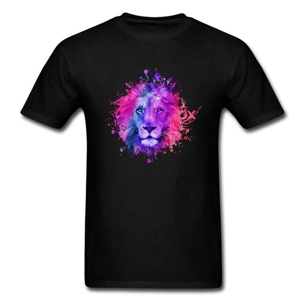 Watercolor Picture Tshirt Purple Lion 3d Print Causal Tee - Shirts Men's Top T Shirt Short Sleeve Round Collar Hipster T Shirt