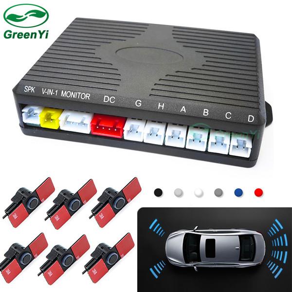 GreenYi Dual Channel Car Video Front Rear Parking Reverse Radar System 6 Sensor 16MM Flat Sensors For Rear View Camera Monitor