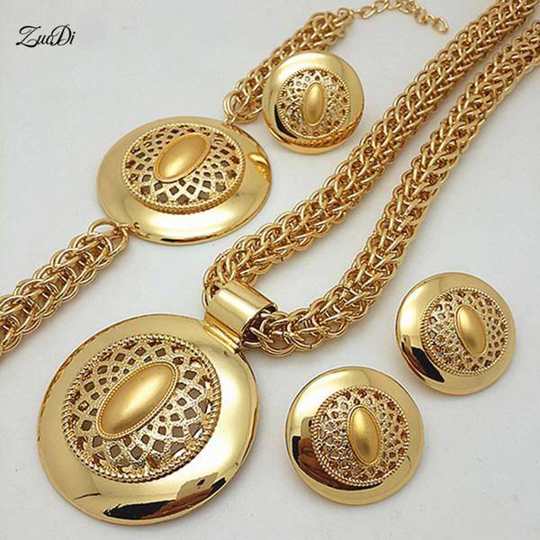 ZuodDi New Exquisite Dubai Gold Farbe Schmuck-Set Big Nigerian Hochzeit Frau Accessoires Schmuck-Set Afrikanische Perlen