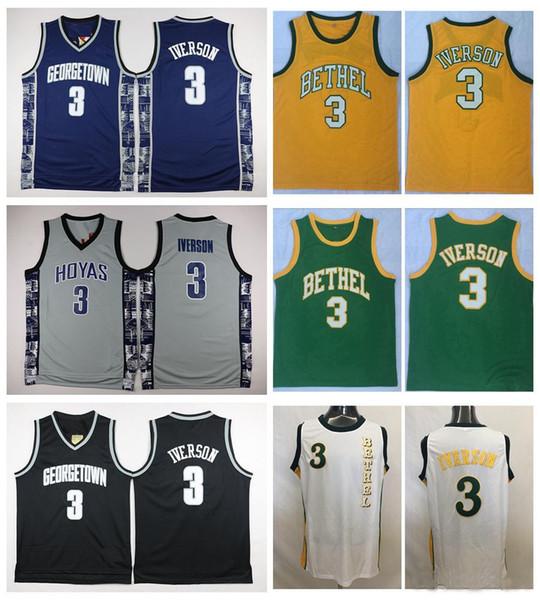 Großhandel Georgetown Hoyas Allen Iverson College Basketball Jersey Universität # 3 Allen Iverson Hemden Günstige Retro Genähte Trikots S XXL Von