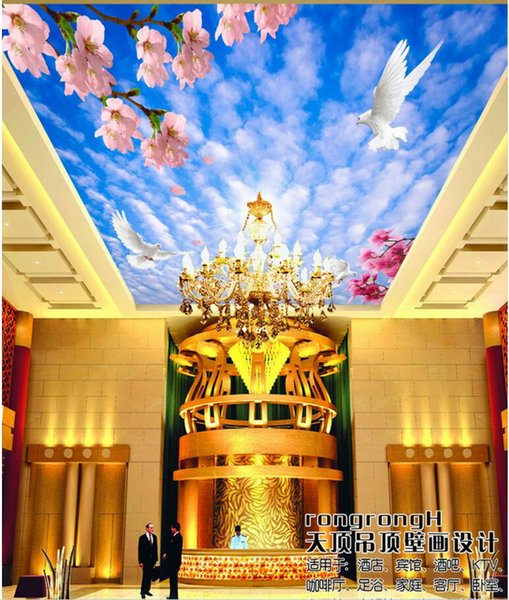 3d wall murals wallpaper for walls 3 d ceiling murals wallpaper custom photo Blue sky white clouds peach home decoration painting