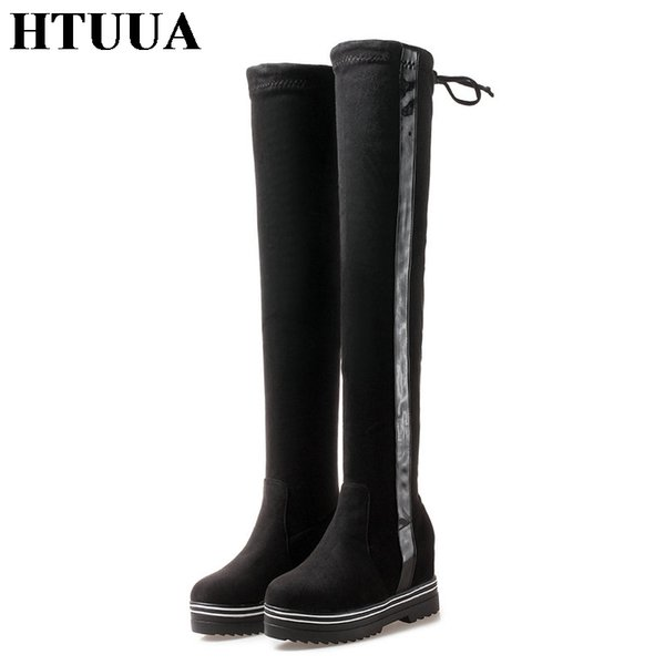 HTUUA 35-43 Russia Keep Warm Plush Winter Boots Women High Over the knee boots Height Increasing Wedge Platform Shoes SX1786