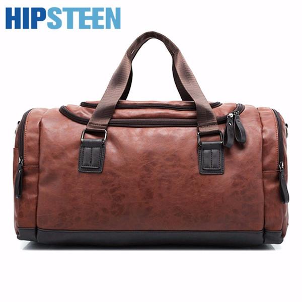 HIPSTEEN big Capacity Waterproof PU leather casual men travel bags Large luggage bag fashion men Travel Bag - Black brown