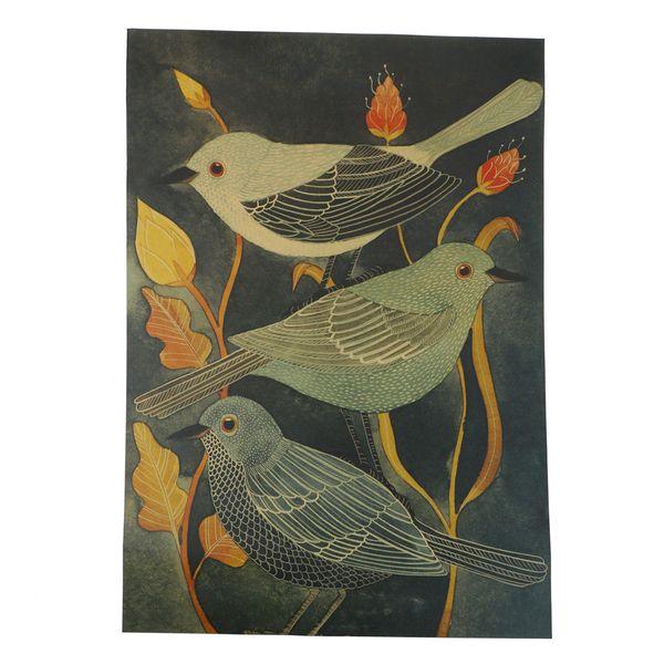 Cuisine Nightingale Beauté Oiseau Affiche Stickers Muraux Kraft Rétro Vintage Peinture Histoire Nostalgie Bar Affiche