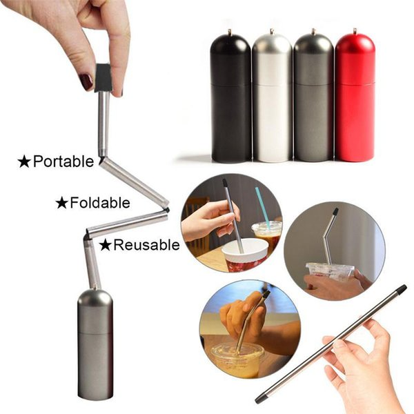 best selling 4 color Reusable Final Straw Stainless Steel Straws Portable Collapsible Foldable Straw Travel Outdoor Kitchen Accessories Drinkware MMA488