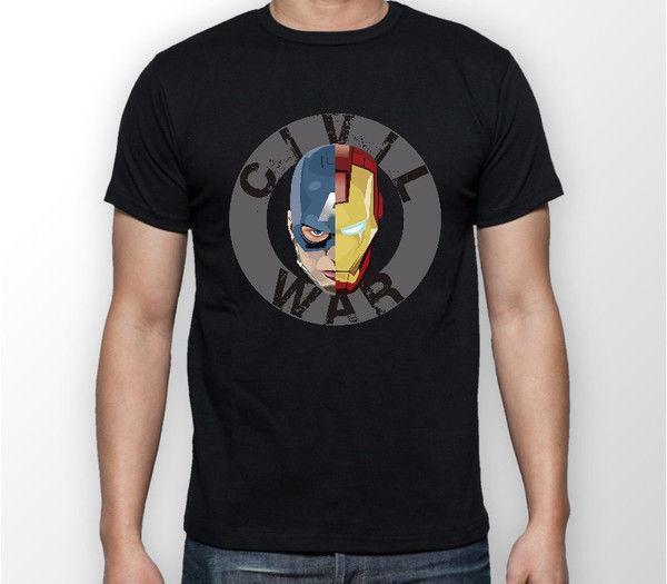 Iron Man vs Kaptan Amerika Yüz İç Savaşı Unisex Tshirt T-Shirt Tee TÜM BOYUTLARı