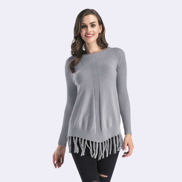 SimAi2018 Autumn Winter Pulloves Tassel Solid Sweater Women Knitted Long Sleeve Jumper thickened Casual Sweater O-Neck Knitwear