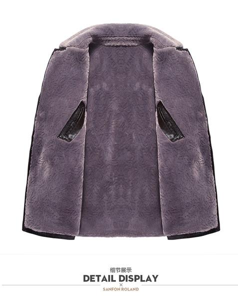 LONMMY 6XL 7X 8XL Fur collar leather jacket men Black fashion Suede PU Long style coat men Plush liner thicken 2018 Winter