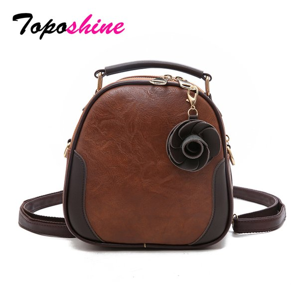 Toposhine Brand New Vintage Style PU Flower Casual Women Handbag Small Lady Party Shoulder Bag Quality Fashion Girl Back Pack