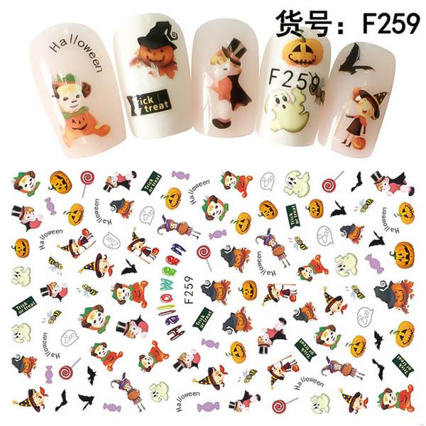 Yinikiz Halloween Theme Nail Stickers Skull Ghost Back Glue Design Nails Decorations 3D Nail Art Manicure Sticker