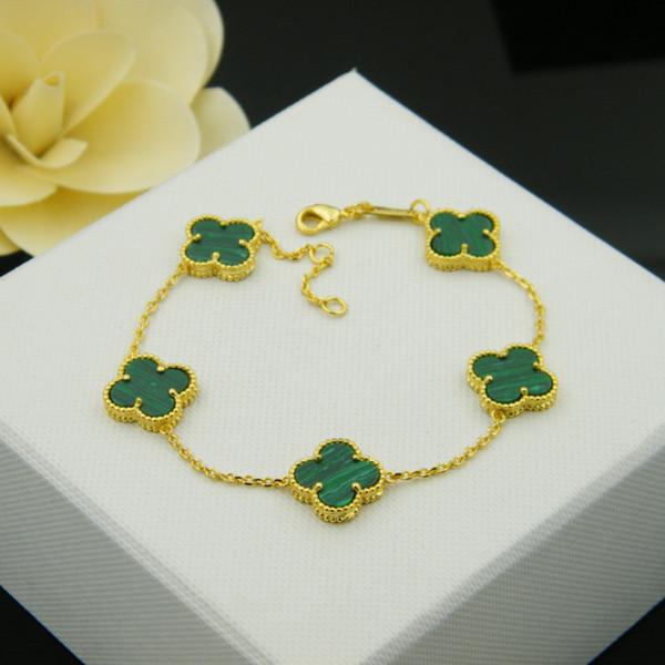 Fiore di marca di vendita calda con cinque fiore natura pendente braccialetto di pietra per le donne regalo di nozze gioielli agata rosa blu turchese PS6219