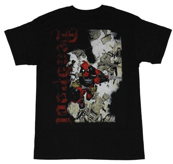 Deadpool (Marvel Comics) Mens T-Shirt - Vertacal Gothic Name Sword Charging Wade Top Harajuku Short Sleeve Hot Selling 100 % Cotton