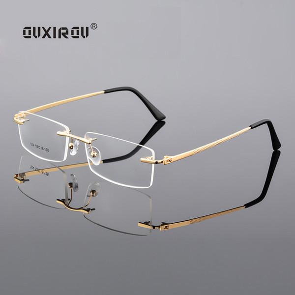 097dc963504 Diamond Trimmed Eyeglasses Men Rimless Glasses Frame Women Quality Optical  Anti-blue light Goggles Myopia Glasses Frame s504