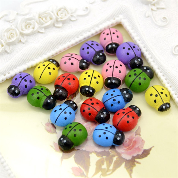 100pcs/pack Wooden Ladybug Kids Children's Cognitive Toys Christmas Wall Stickers DIY Process Accessories Family Holiday Decorations