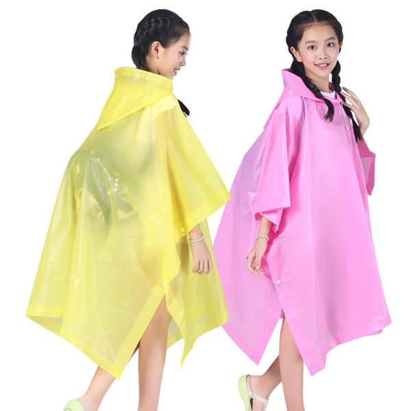 Impermeabile riutilizzabile per bambini Impermeabile trasparente impermeabile antipioggia per bambini Cappuccio con cappuccio tipo mantello per studenti