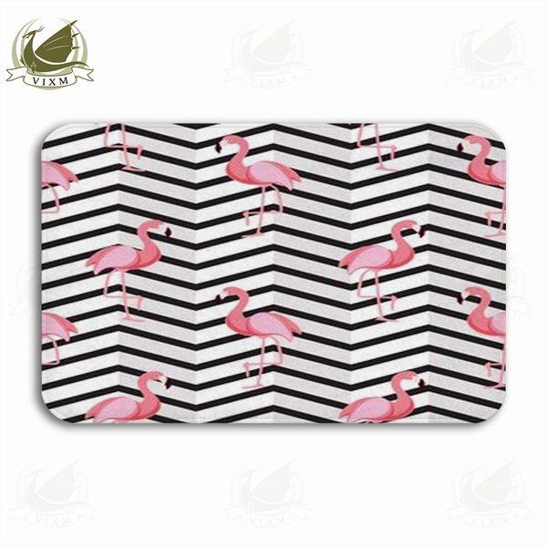 Vixm Cute Vintage Flamingo Black And White Striped Background Welcome Door Mat Rugs Flannel Anti-slip Entrance Indoor Kitchen Bath Carpet