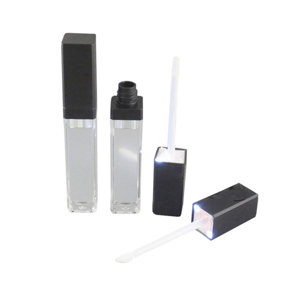 Wholesale- 50pcs/lot, 7ml LED light lip gloss bottle container tube with mirror attached on one face, black and silver cap