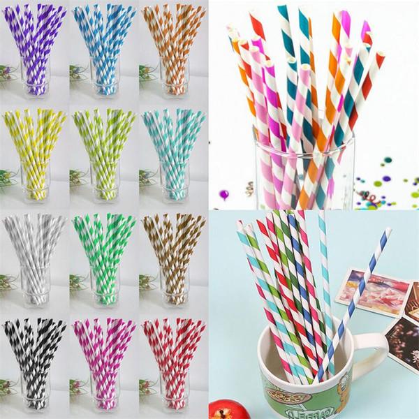 cannuccia di carta colorata cannucce striscia bere cannucce di carta Eco-friendly Cannucce per la paglia di moda matrimonio partito