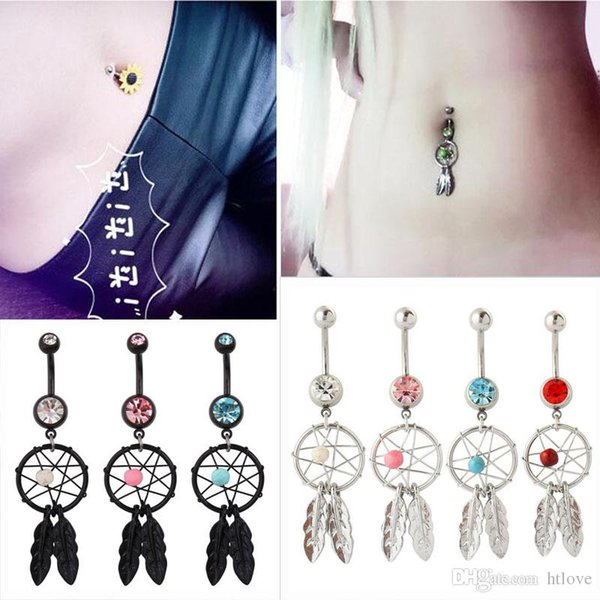 Dream Catcher Dangle Belly Anneaux nombril avec gemmes Pierres Mix couleurs nombril gros drop shipping