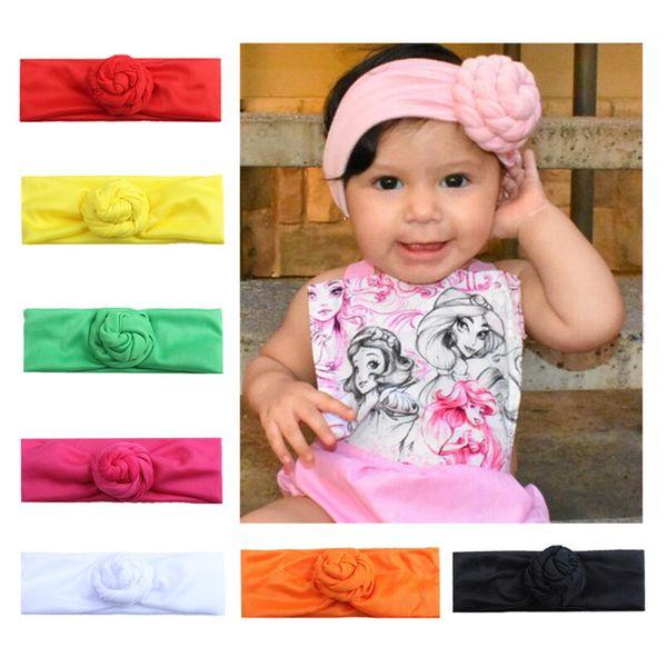 Nuevo Color Caramelo Bebé Niñas Espiral Nudo Diadema Algodón Niños Niñas Bandas Elásticas Del Pelo Turban Bows Chica Diadema Accesorios para el cabello