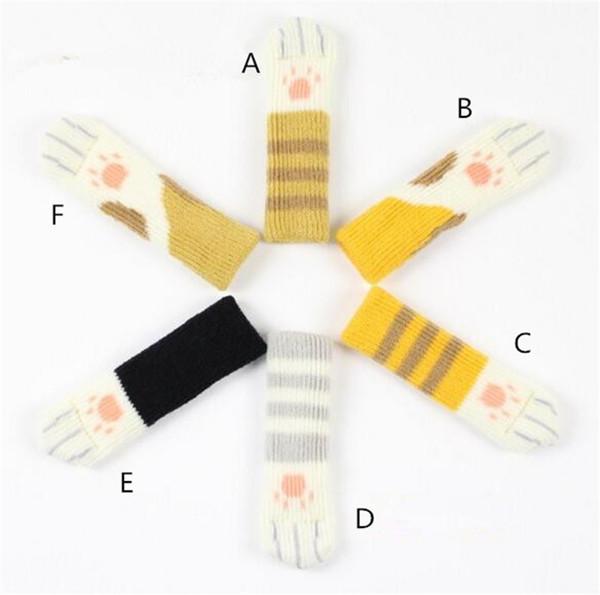 4pcs Knitting Cat Style Calze da gamba per la casa Mobili per la casa Protezioni per il pavimento delle gambe La copertura per le gambe delle tavole antiscivolo impedisce ai gatti di graffiare