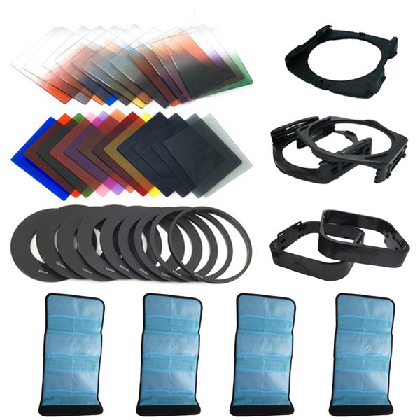 42 in1 24Color Filter +4 Cases+9 ring Adapter+2 holder+Wide-Angle Holder+lens hood for Cokin P Suitable camera