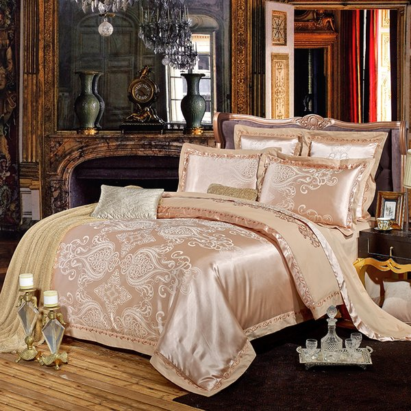 2018 European Paisley Dark Golden Bed Cover Silk Cotton Blend Duvet Cover Set Jacquard Queen King Bedlinens Sheet Pillowcases