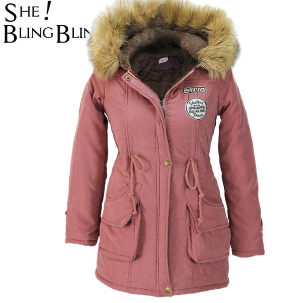 2019 SheBlingBling Women Fashion Parkas Winter Jackets Coats Faux Fur Hooded Collar Casual Long Parkas Cotton Wadded Laidies Overcoat