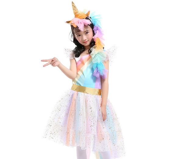 Unicorn Children rainbow stripe pageant dress girls sequins lace tulle dress kids angle wings cosplay party dresses kid princess dress F1265