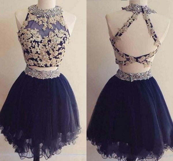 2018 Navy Two Piece Homecoming Dresses Sparkly Beaded Sheer Neck Gold Appliques Criss-Cross Back A-Line Layered Tulle Skirt Cocktail Dress