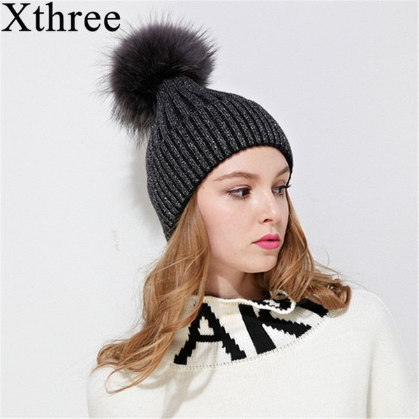 [Xthree]fox fur pom poms knitted hat winter hat for women and girl beanie real brand new thick female wool cap