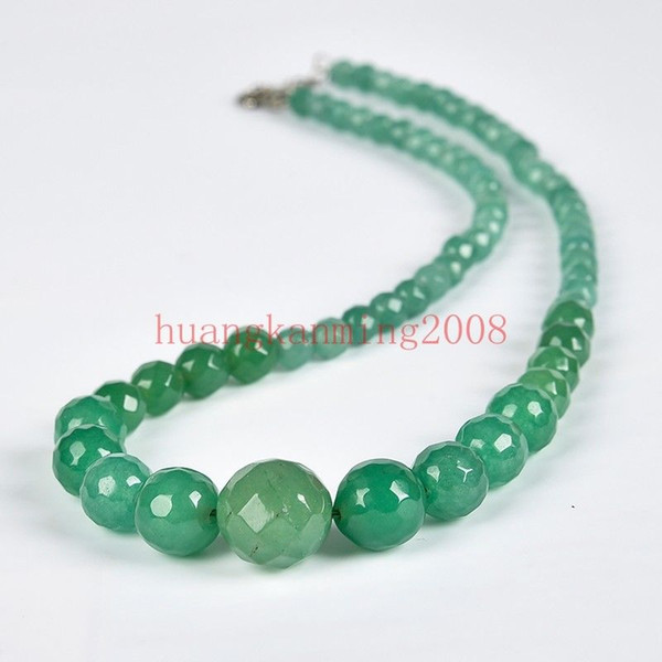 """6-14MM Faceted Light Green Jade Round Gemstone Beads Necklace 18"""""""