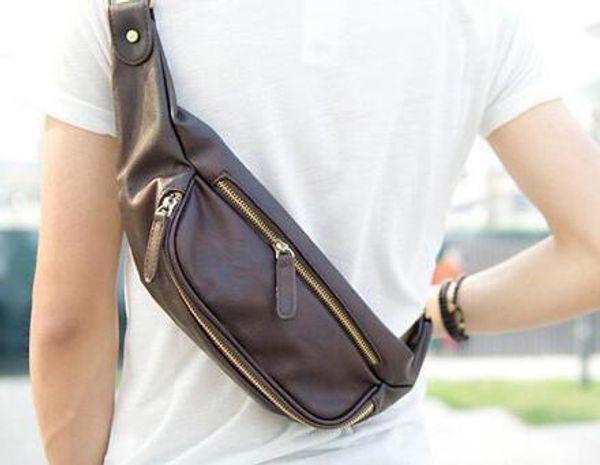 Кожаная сумка талии, мужская небольшой груди пакет отдых на открытом воздухе небольшой талии сумка прилив мужской мешок бесплатная доставка
