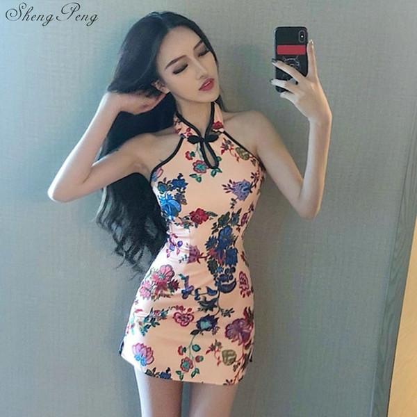 2018 verano Sexy Gorgeous Vintage Satén de seda de las mujeres chinas Cheongsam Halter Qipao Prom Flores vestido único V982