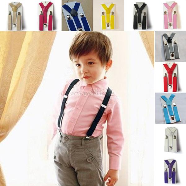 Moda Infantil das Crianças Ajustável Clip On Y Suspensórios Elásticos Magros Suspensórios Bebê MeninosRoupas Acessórios