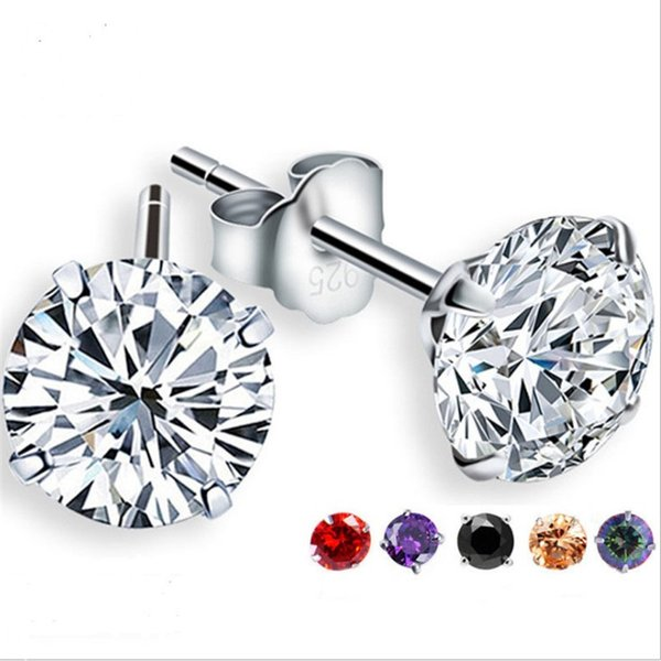 100% 925 Sterling Silver Jewelry Round Zircon CZ Stud Earrings White Clear Zircon Ear Studs for Women Men Party Gifts JL