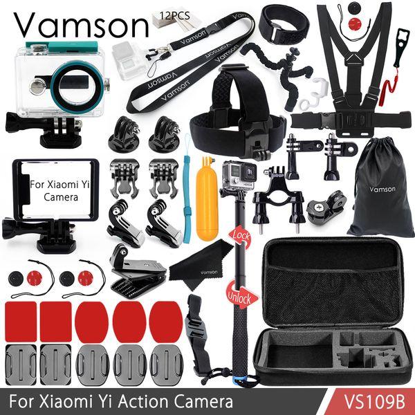 Vamson for Xiaomi yi Accessories Kit Neck Strap Selfie Stick Waterproof housing case Standard Frame for Xiaomi yi VS109B