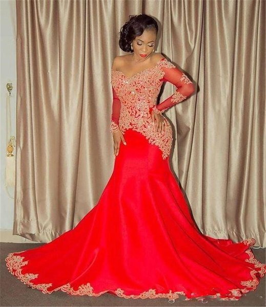 2018 Red Chiffon Off the Shoulders Long Sleeves Prom Dresses Lace Appliqued Beaded Sequins Mermaid Evening Gowns Sleeves Count Train African