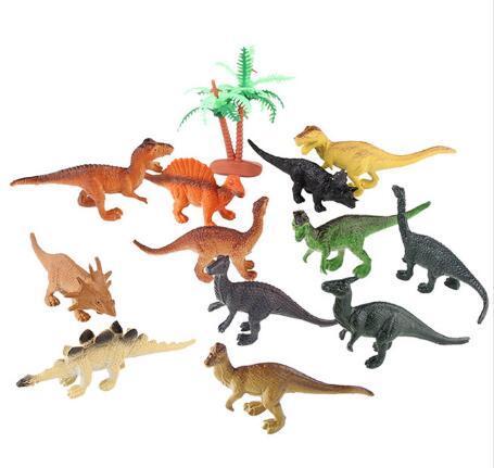 12 unids / lote dinosaurio juguete conjunto juguetes de plástico juguetes dinosaurio modelo de acción y figuras mejor regalo para niños 2017