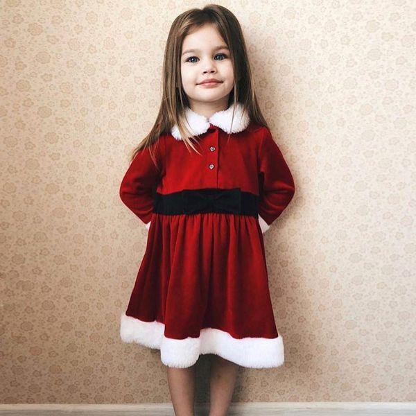 Compre Vestidos Rojos Para Niñas De Navidad Otoño 2018 Boutique De Ropa Para Niños Festival Niñas Vestidos De Manga Larga Para La Fiesta De Navidad