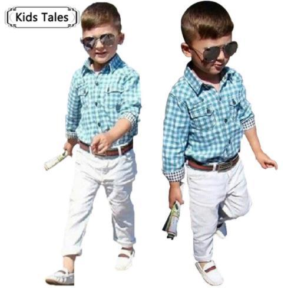 ST154 2018 new fashion boys clothes set kids loose-fitting cotton plaid shirt+ pants+ belt 3 pcs minion kids clothing set retail