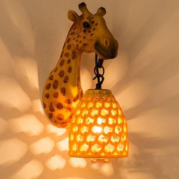 Classic LED Crystal Wall Lamp Fixture Home Resin Orange Giraffe Wall Light Art Sconce For Children's Bedroom Corridor Lamp G688