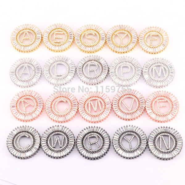 Fashion 6Pcs Initials Letter Space Connector Beads, Pave CZ 26 Alphabet Letter For Bracelet Jewelry Making