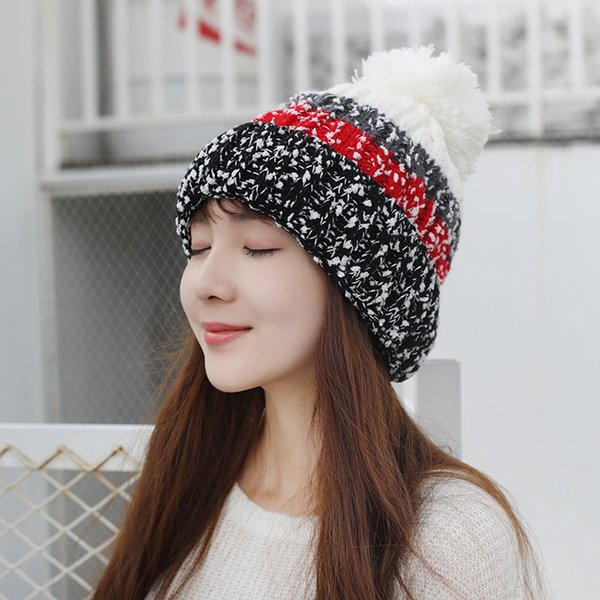 SexeMara High Quality Beanies Cotton Add Wool Fur Ball Cap Pompoms Winter Hat for Women Girl Ski Hat Knitted Warm Skullies Cap