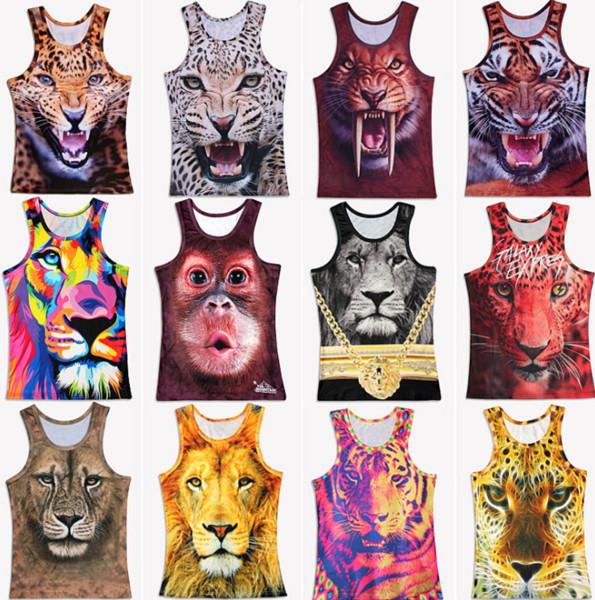 New Summer 3D Print Colored Tiger Vest Men Novelty O-neck Tank Tops fashion summer Outdoor T-Shirts GGA289 10PCS