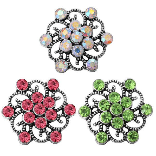 5pcs/lot 2018 Snap Jewelry Exotic Style Rhinestone Vintage Flower 18mm Metal Snap Buttons for Ginger Snaps Bracelet For Women